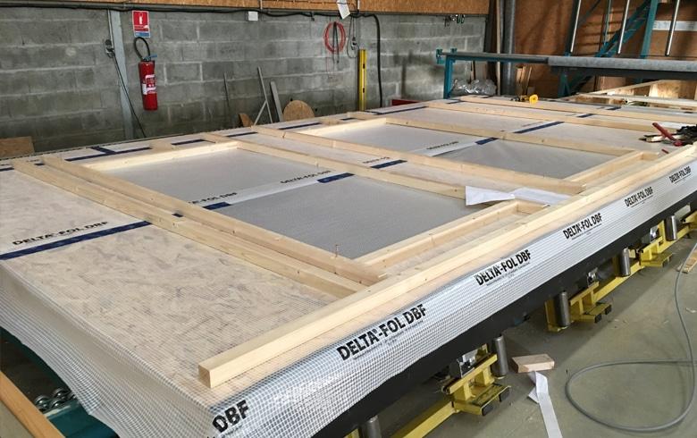 Murs ossature bois en cours de fabrication